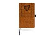 Oakland Raiders Laser Engraved Brown Notepad With Elastic Band