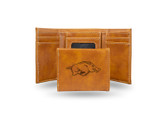 Arkansas Razorbacks Laser Engraved Brown Trifold Wallet