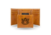 Auburn Tigers Laser Engraved Brown Trifold Wallet