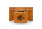 Boise State Broncos Laser Engraved Brown Trifold Wallet