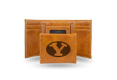 BYU Cougars Laser Engraved Brown Trifold Wallet