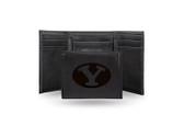 BYU Cougars Laser Engraved Black Trifold Wallet