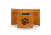 Clemson Tigers Laser Engraved Brown Trifold Wallet