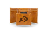 Colorado Buffaloes Laser Engraved Brown Trifold Wallet