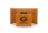 Georgia Bulldogs Laser Engraved Brown Trifold Wallet