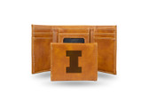 Illinois Fighting Illini Laser Engraved Brown Trifold Wallet