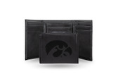 Iowa Hawkeyes UNIVERSITY Laser Engraved Black Trifold Wallet