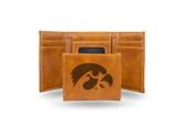 Iowa Hawkeyes UNIVERSITY Laser Engraved Brown Trifold Wallet