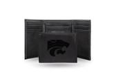Kansas State Wildcats Laser Engraved Black Trifold Wallet