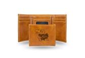 Kansas Jayhawks Laser Engraved Brown Trifold Wallet
