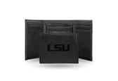 LSU Tigers Laser Engraved Black Trifold Wallet