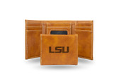 LSU Tigers Laser Engraved Brown Trifold Wallet