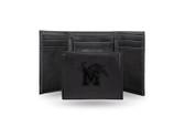 Memphis Tigers Laser Engraved Black Trifold Wallet