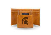 Michigan State Spartans Laser Engraved Brown Trifold Wallet