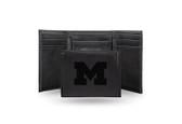 Michigan Wolverines Laser Engraved Black Trifold Wallet