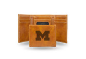 Michigan Wolverines Laser Engraved Brown Trifold Wallet