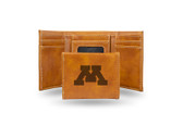 Minnesota Golden Gophers Laser Engraved Brown Trifold Wallet
