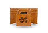 Mississippi State Bulldogs Laser Engraved Brown Trifold Wallet