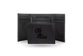 Ole Miss Rebels Laser Engraved Black Trifold Wallet