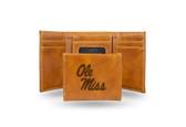 Ole Miss Rebels Laser Engraved Brown Trifold Wallet