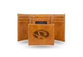 Missouri Tigers Laser Engraved Brown Trifold Wallet