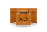 North Dakota Sioux Laser Engraved Brown Trifold Wallet