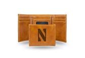 Northwestern Wildcats Laser Engraved Brown Trifold Wallet
