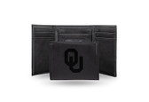 Oklahoma Sooners Laser Engraved Black Trifold Wallet
