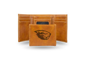 Oregon State Beavers Laser Engraved Brown Trifold Wallet