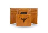 Texas Longhorns Laser Engraved Brown Trifold Wallet