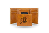 Utah Utes Laser Engraved Brown Trifold Wallet