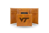 Virginia Tech Hokies Laser Engraved Brown Trifold Wallet