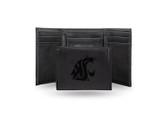 Washington State Cougars Laser Engraved Black Trifold Wallet