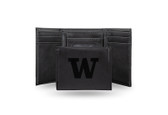 Washington Huskies Laser Engraved Black Trifold Wallet