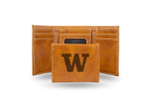 Washington Huskies Laser Engraved Brown Trifold Wallet