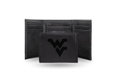 West Virginia Mountaineers Laser Engraved Black Trifold Wallet