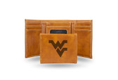 West Virginia Mountaineers Laser Engraved Brown Trifold Wallet