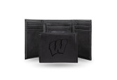 Wisconsin Badgers Laser Engraved Black Trifold Wallet