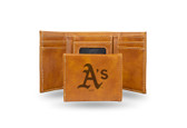 Oakland Athletics Laser Engraved Brown Trifold Wallet