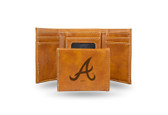 Atlanta Braves Laser Engraved Brown Trifold Wallet