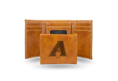 Arizona Diamondbacks Laser Engraved Brown Trifold Wallet