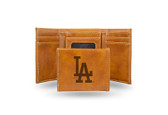 Los Angeles Dodgers Laser Engraved Brown Trifold Wallet
