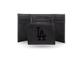 Los Angeles Dodgers Laser Engraved Black Trifold Wallet