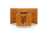San Francisco Giants - SF Laser Engraved Brown Trifold Wallet