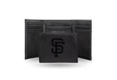 San Francisco Giants - SF Laser Engraved Black Trifold Wallet