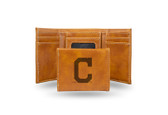 Cleveland Indians Laser Engraved Brown Trifold Wallet