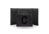 Cleveland Indians Laser Engraved Black Trifold Wallet