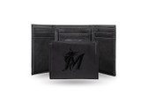 Miami Marlins Laser Engraved Black Trifold Wallet