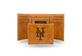 New York Mets Laser Engraved Brown Trifold Wallet