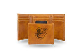 Baltimore Orioles Laser Engraved Brown Trifold Wallet